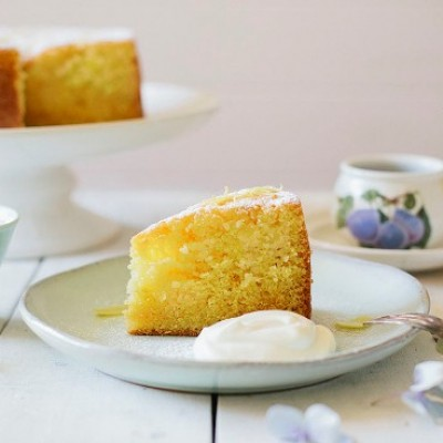 Lemon Sour Cream Cake with Puhoi Valley Authentic Greek